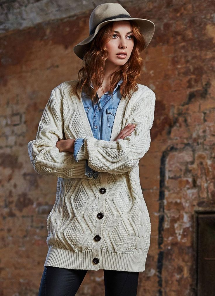 Our Sophie Aran V-Neck Cardigan exudes Irish heritage and the history of  the Aran