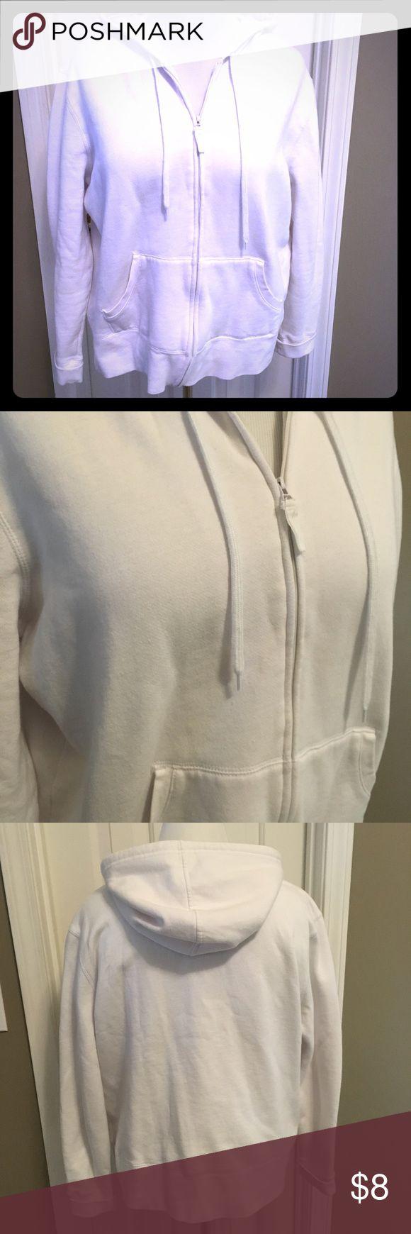 White zip up hoodie jacket - EUC Excellent condition. White hoodie zip up in soft sweatshirt knit. Karen Scott Jackets & Coats