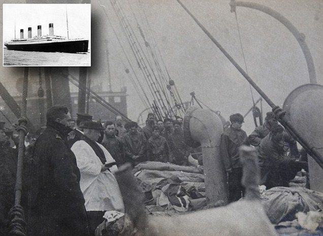 TITANIC DISASTER PHOTO...This haunting black and white photograph taken on board the Mackay Bennett body recovery ship following the Titanic disaster shows a mass funeral for dozens of the dead being buried in the Atlantic Ocean. The image - which has been discovered a century on from the disaster in 1912 - shows body bags stacked on the windswept deck while two crewman tip up a stretcher to drop a victim over the side.