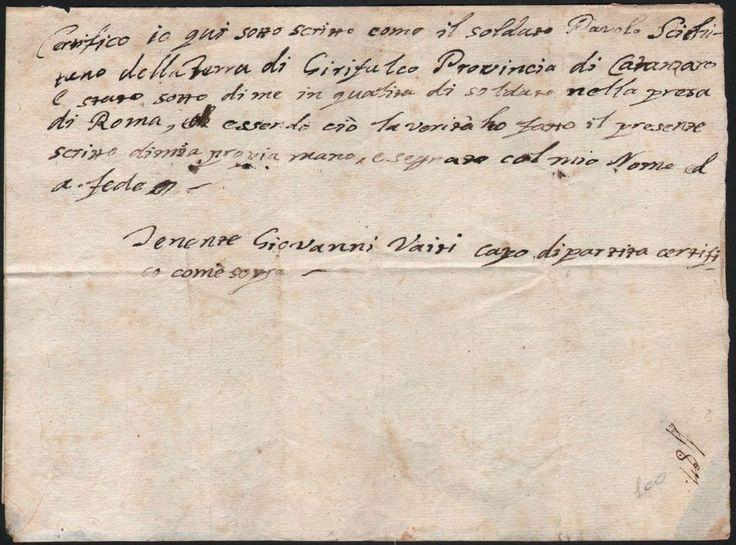 BRIGANTAGGIO-TENENTE GIOVANNI VAITI PER LA CONQUISTA DI ROMA 1799 CIRCA