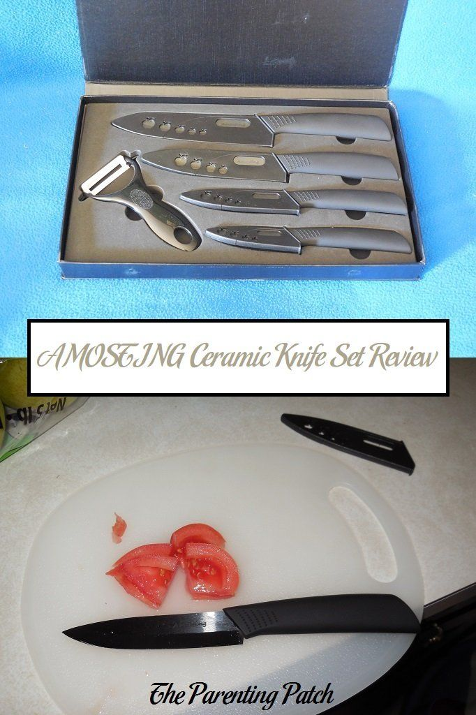 Very positive review of the AMOSTING nine-piece ceramic knife set, which comes with four knives, four sheaths, and a peeler.
