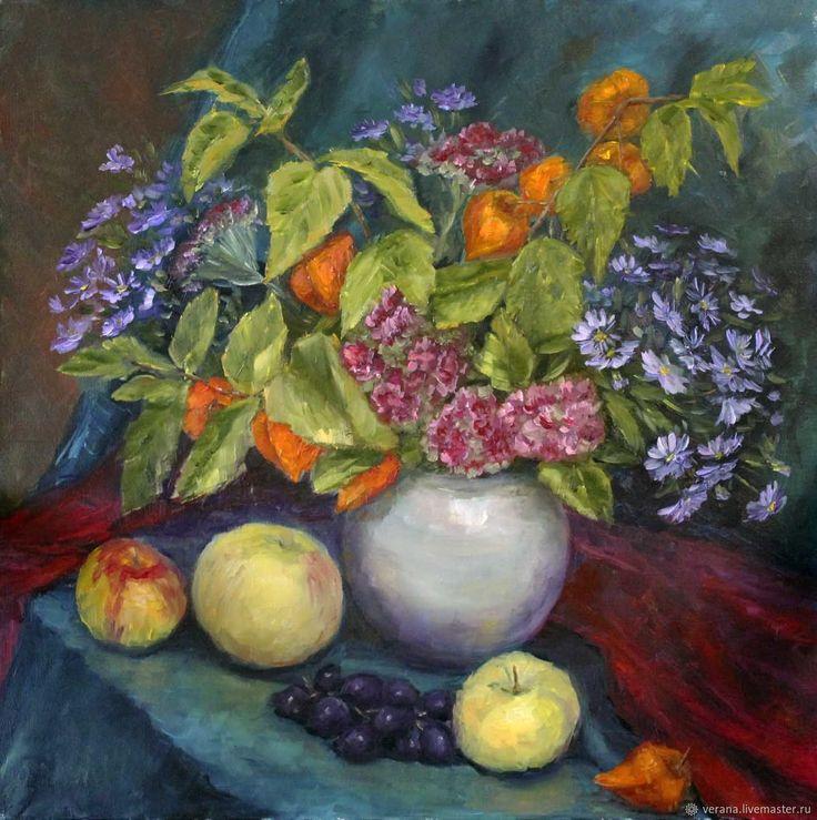 Купить Картина маслом. Осенние цветы. Натюрморт с цветами в интернет магазине на Ярмарке Мастеров