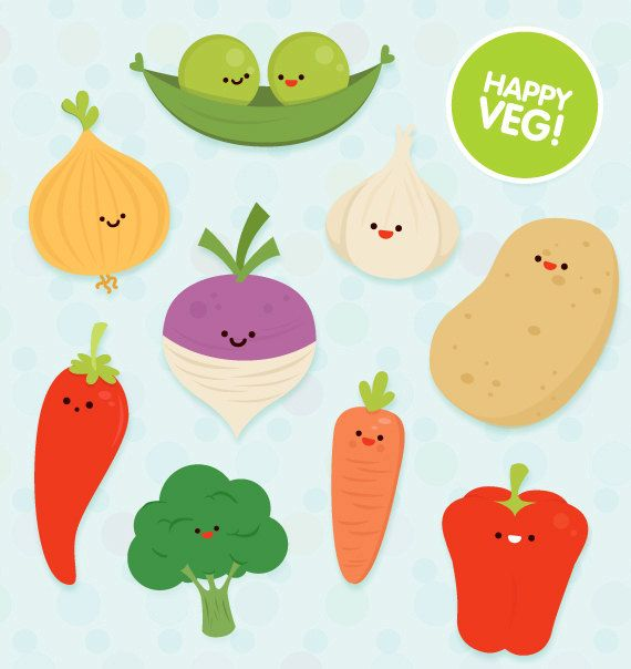 Veg clipart commercial use cute vector educational art by ColorPlanet