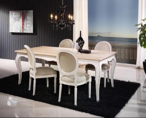 mesa de comedor estilo frncs blanco decapado tapa roble macizo