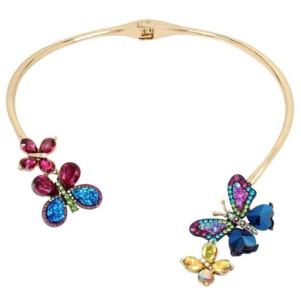 Betsey Johnson  Gold-Tone Hinge Butterfly Collar Necklace (9595 RSD) ❤ liked on Polyvore featuring jewelry, necklaces, multi, multi coloured necklace, gold butterfly necklace, collar necklace, butterfly necklace and multi color necklace