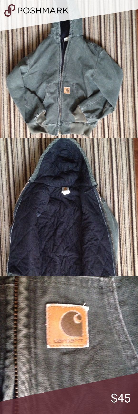 Carhartt Heavy lined Hooded Jacket! Heathered Hunter Green Carhartt Hooded Lined Jacket. Heavy and warm!! EUC. Would make a great addition to winter wardrobe! No rips, tears, or stains. Freshly laundered. Size Medium. Would fit a 10/12 with room for a lighter sweatshirt or lighter sweater underneath. Pit to Pit is 25 inches. Shoulder to Hem is 25 inches. Carhartt Jackets & Coats