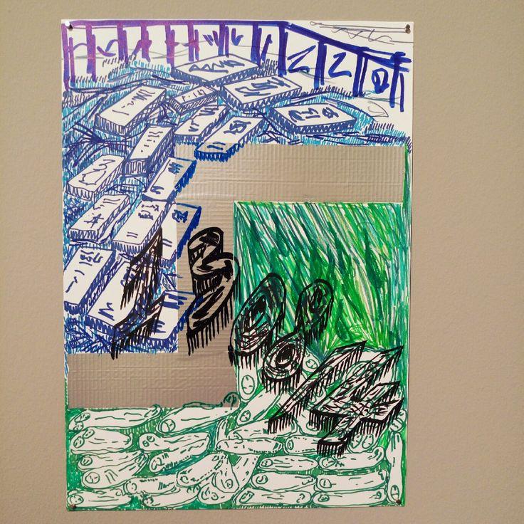 YOSEF JOSEPH DADOUNE  Yosef Joseph Dadoune  13/08/2014 Border notes 29,7 x 42 cm Marqueur permanent, marqueur peinture Posca, feutres couleur, pastels à l'huile, ruban adhésif toilé gris sur papier Canson imagine 200 g/m²   Collection Hôtel des Arts - Centre d'art du Département du Var.