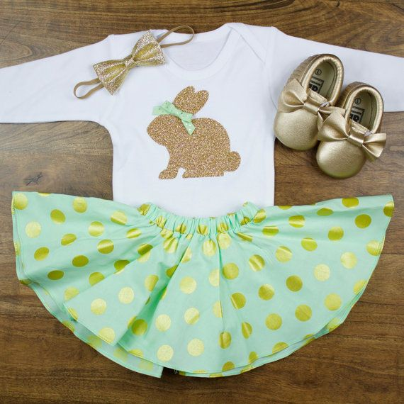 Baby Girl Easter Outfit | Gold Bunny | Baby Easter Bunny Outfit | Mint and Gold Polka Dot Twirl Skirt With Gold Easter Bunny