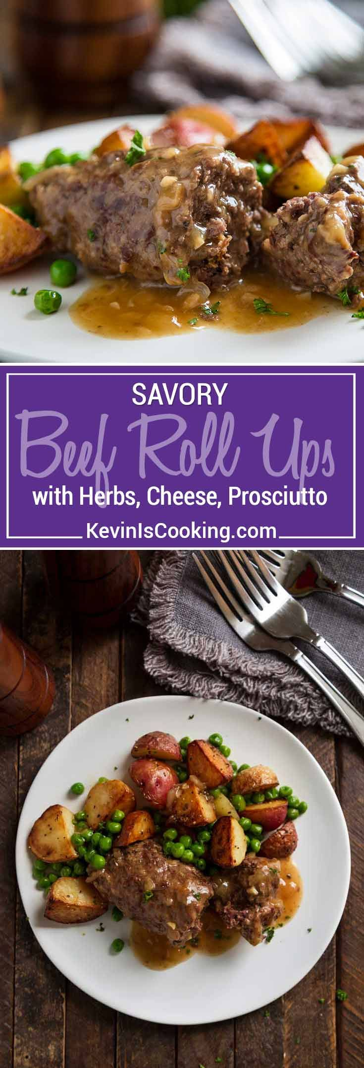Beef Roll Ups - Top round steak gets pounded thin, spread with an herb and cheese paste, prosciutto, rolled and sautéed - so delicious. Sauce is amazing! via @keviniscooking