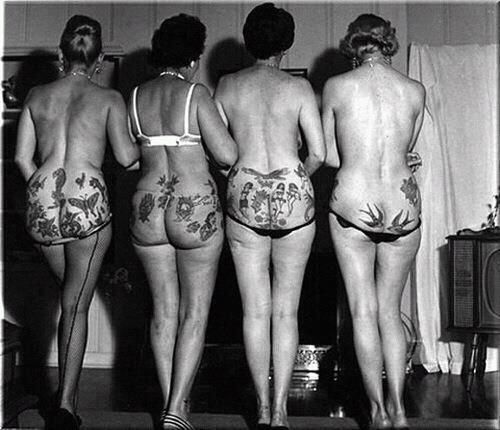 Love this picture! Classy ladies with hidden tattoos! - Miss Meadows' Pearls: Tattooed Vintage Women