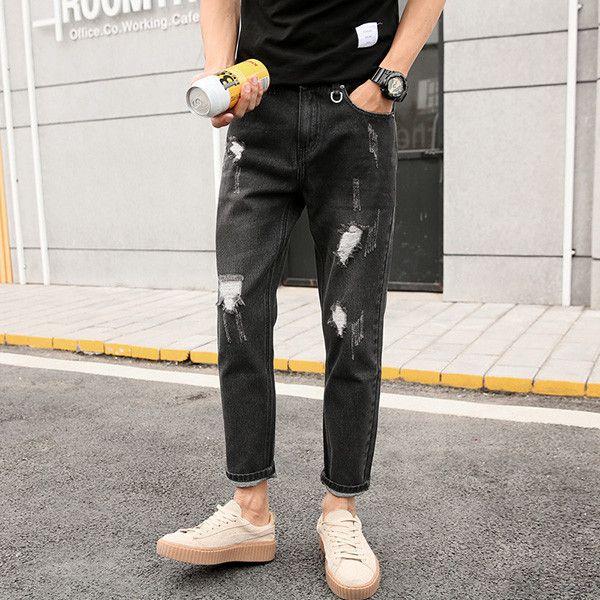 Boys Black Grey Ripped Jeans Distress Holes Ankle Jeans Men Denim Jean Trousers Pants