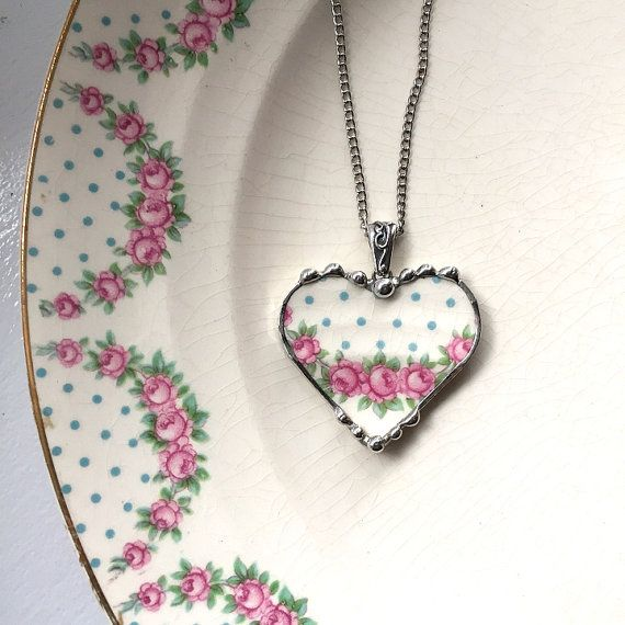 Pink roses blue polka dots broken china jewelry heart pendant necklace