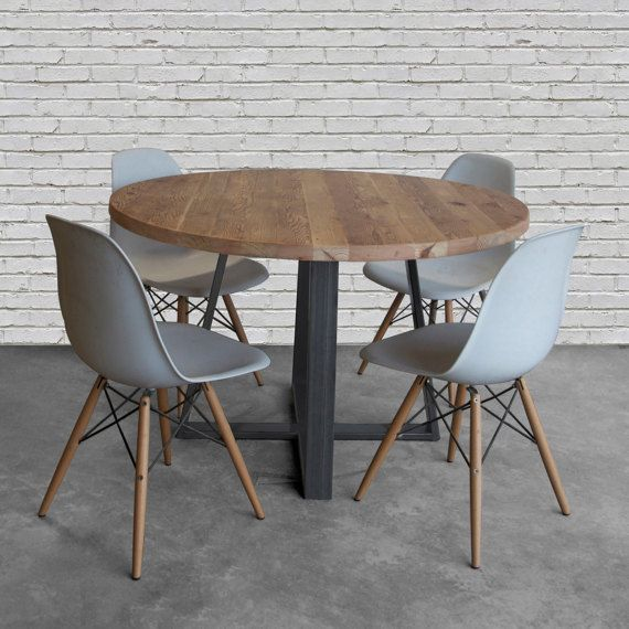 Farmhouse Round Wood Table In Reclaimed Wood And Steel Legs In Your Choice  Of Color, Size And Finish