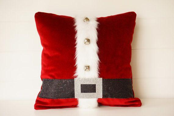"Santa Pillow red or gray Holiday Pillows, Christmas Pillows, Bells, Velvet Pillows, Santa Suit, Santa Decoration, 14"" Red Velveteen Cushion"