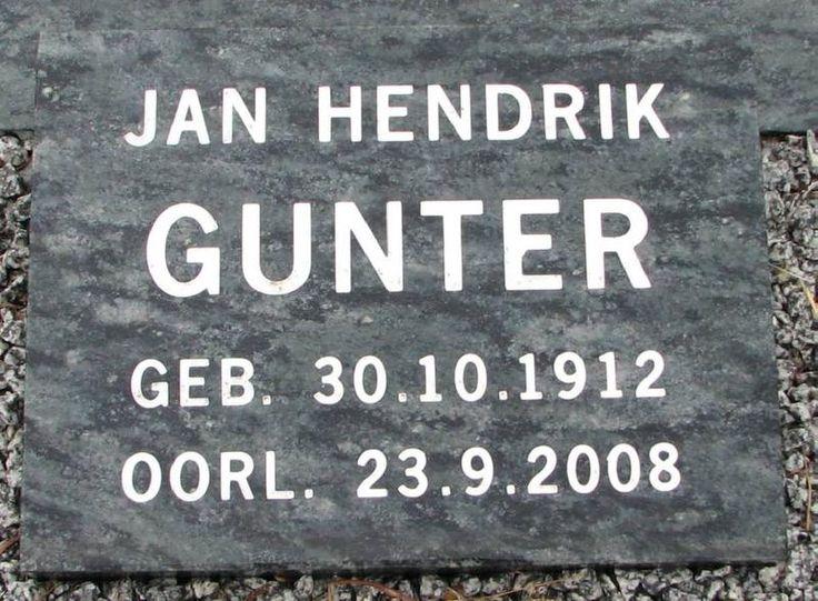 GUNTER Jan Hendrik 1912-2008 Western Cape, SWELLENDAM, New main cemetery