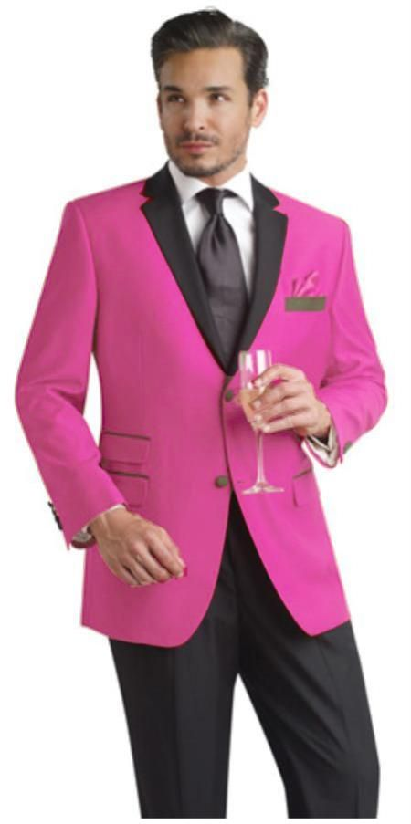 SKU#HMA80 Hot Pink Two Button Notch Party Suit & Tuxedo & Blazer w/ Black Lapel $595