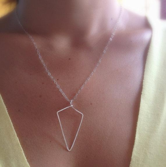 silver spear necklace - silver spike necklace - geometric minimalist