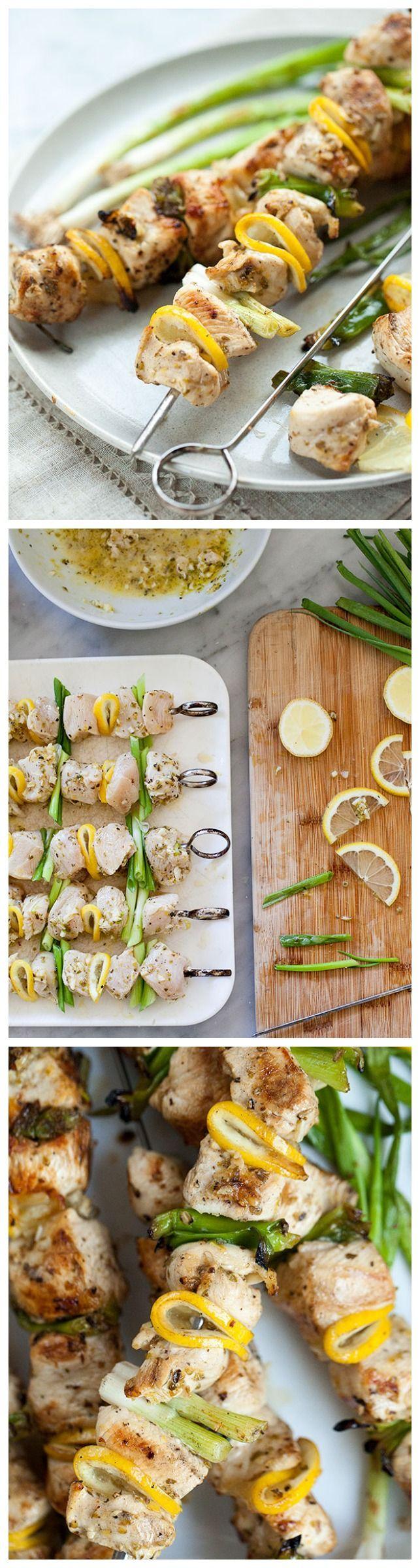Grilled Lemon Chicken Skewers are my favorite skinny chicken dinner | foodiecrush.com #mediterraneandiet #recipe