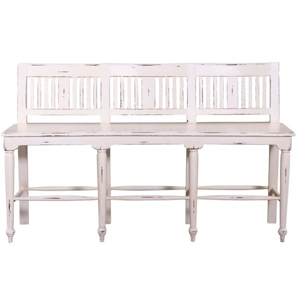 Somette Hand-Crafted Weathered White 5 foot Counter Height Bench