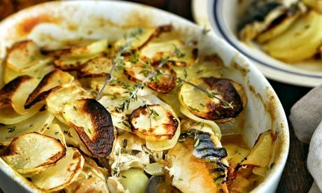 Recipes for under £5: baked mackerel with potatoes, thyme and onions    Owner of the Seahorse restaurant, Mitch Tonks serves a warming baked mackerel with potatoes, thyme and onions