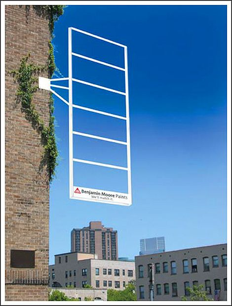 Banjamin Moore Paints guerrilla marketing ad. Awesome use of demonstrating real color!