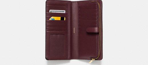 Skinny Wallet in Leather - Light Gold/Oxblood