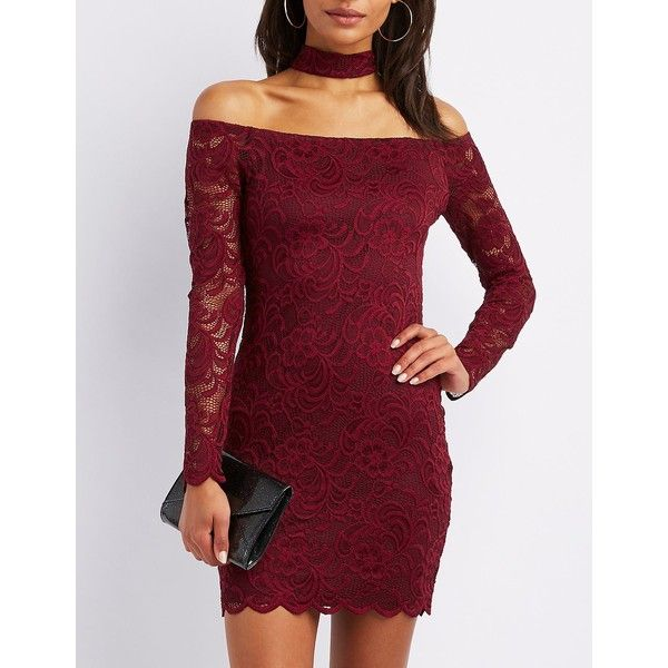 Charlotte Russe Choker Neck Off-The-Shoulder Lace Bodycon Dress ($13) ❤ liked on Polyvore featuring dresses, burgundy, cocktail dresses, sexy red dress, lace cocktail dress, red lace dresses and sexy body con dresses