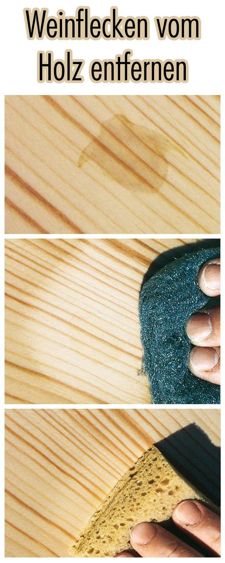 Weinflecken auf dem geölten Holz kann jeder selbst entfernen. Dazu braucht man: Hartöl, Schwamm, Schleifkissen, Leinentuch. Dann wird der Fleck in Holzmaserrichtung aus dem Holz geschliffen, bis er nicht mehr sichtbar ist. Die geschliffene Stelle satt mit Hartöl tränken. Das Öl etwa 5-6 Minuten einziehen lassen, den Überschuss anschließend mit einem Leinentuch abnehmen. Vorgang, wenn nötig, wiederholen.