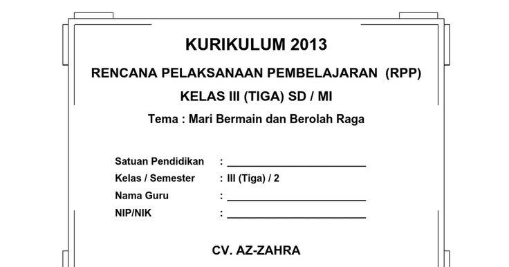 [5] RPP SD KELAS 3 SEMESTER 2 - Mari Bermain dan Berolahraga.doc