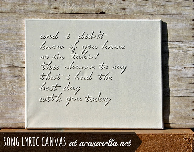 Make a 3D song lyric canvas with this easy tutorial.  Great for a wedding song, nursery rhyme, or any of your favorite lyrics.