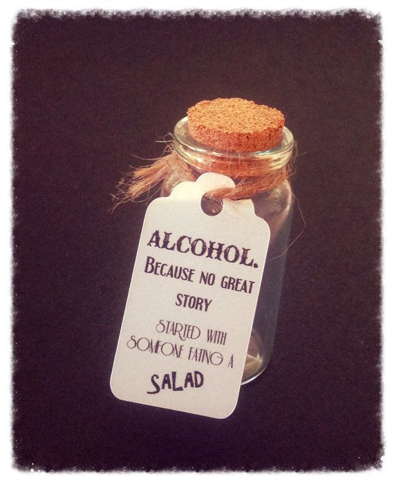 Wedding Swing tags for Miniature Alcohol bottles and wine bottles! Alcohol. Because no good story started with someone eating a salad. What a fun way for guests to start at your reception! Brilliant for bonbonniere and favours!  Available in two sizes, these tags are sure to bring out your personality and make your wedding unique!