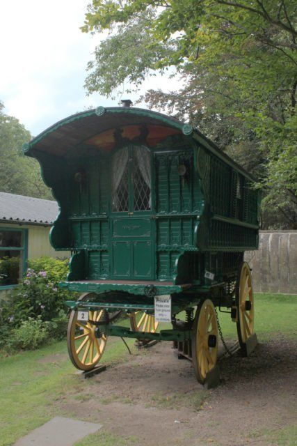 A whimsical compendium of traditional gypsy caravans.  The  traditional horse-drawn wagon used by British Romani people as their home is called vardo (also waggon, living wagon, van, and caravan). Possessing a chimney, it is commonly thought of as being highly decorated, intricately carved, brightly painted, and even gilded. The British Romani tradition of the vardo is seen as a high cultural point of both artistic design and a masterpiece of woodcrafters art.