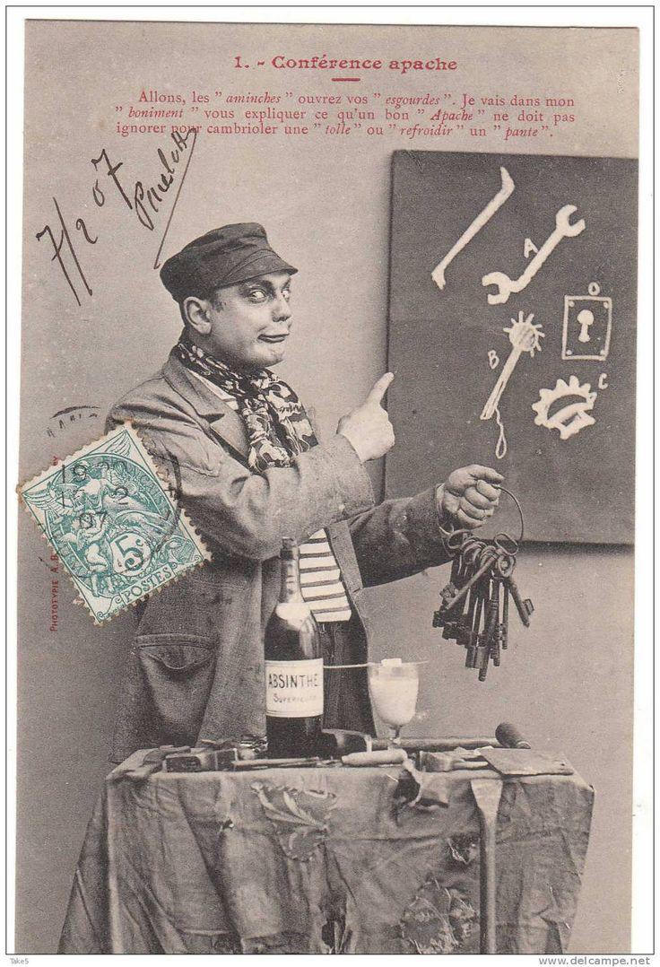 Conférence Apache.  Série de 6 cartes postales humoristiques (Bergeret), avec petit texte argotique. 1907 (circulation ?) d'après vendeur sur Delcampe