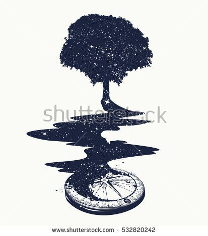 Magical tree tattoo art, river of stars, psychology symbol, tourism, travel. Surrealist concept of life and immortality. Star Compass. Magic Tree t-shirt design.