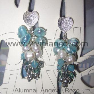 Aretes / Zarcillos en racimo de uva de perlas cultivadas. Curso de Joyería de ViviBlanco