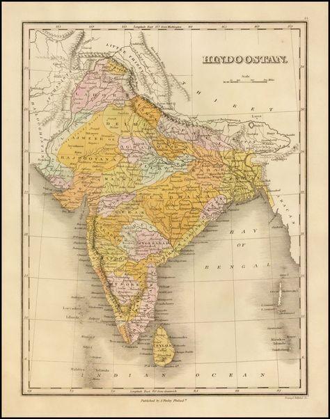 1824 - Hindoostan - Barry Lawrence Ruderman Antique Maps Inc.