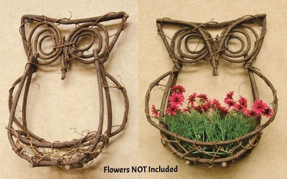New Country Primitive Rustic Grapevine Twig Owl Wall Basket Planter Wreath