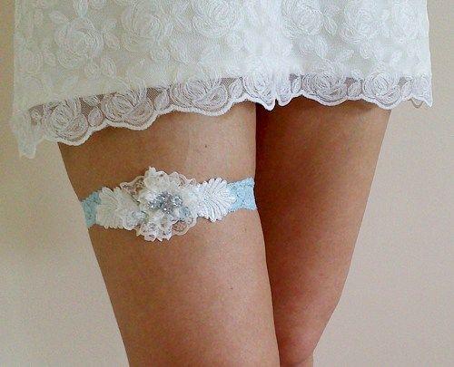 Blue ivory bridal garter belt