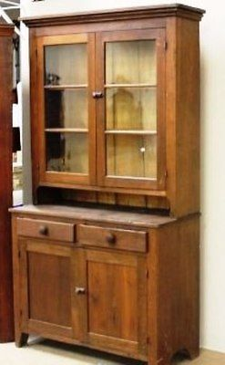 Amer. Southern Antique 1840-60 Walnut 2 Pc Stepback Cupboard old glass As found