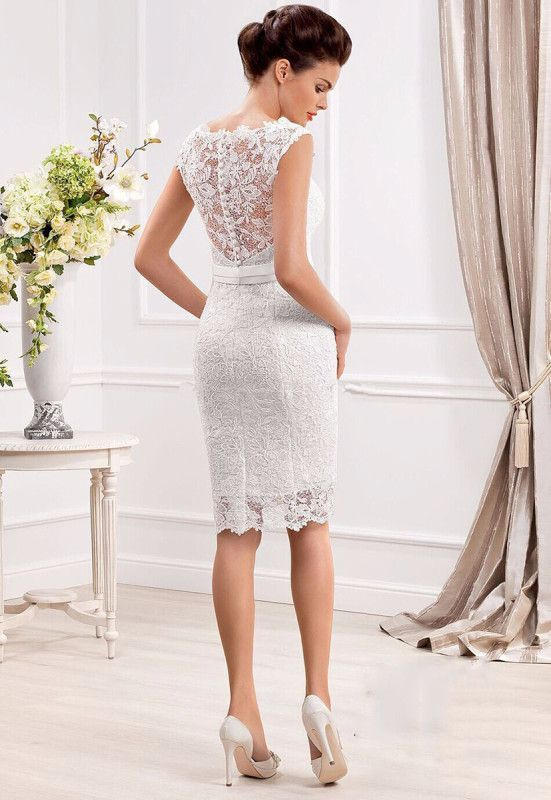 Elegant Cap Sleeve Lace Appliques Button Short Wedding Dress