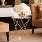 Tetra Clear Glasstop with Gold Metal Frame Round End Table, Yellows/Golds