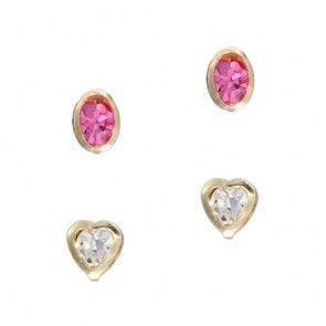 Kit de Brincos, Coração Branco e Ponto Rosa, Ouro