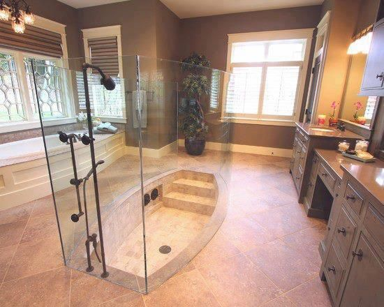 Sunken Shower with Glass Enclosure