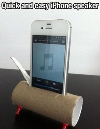 Use a toilet paper roll as an iPhone or tablet speaker. Not a high quality speaker, of course, but I did notice the difference. Nice as a stand too.