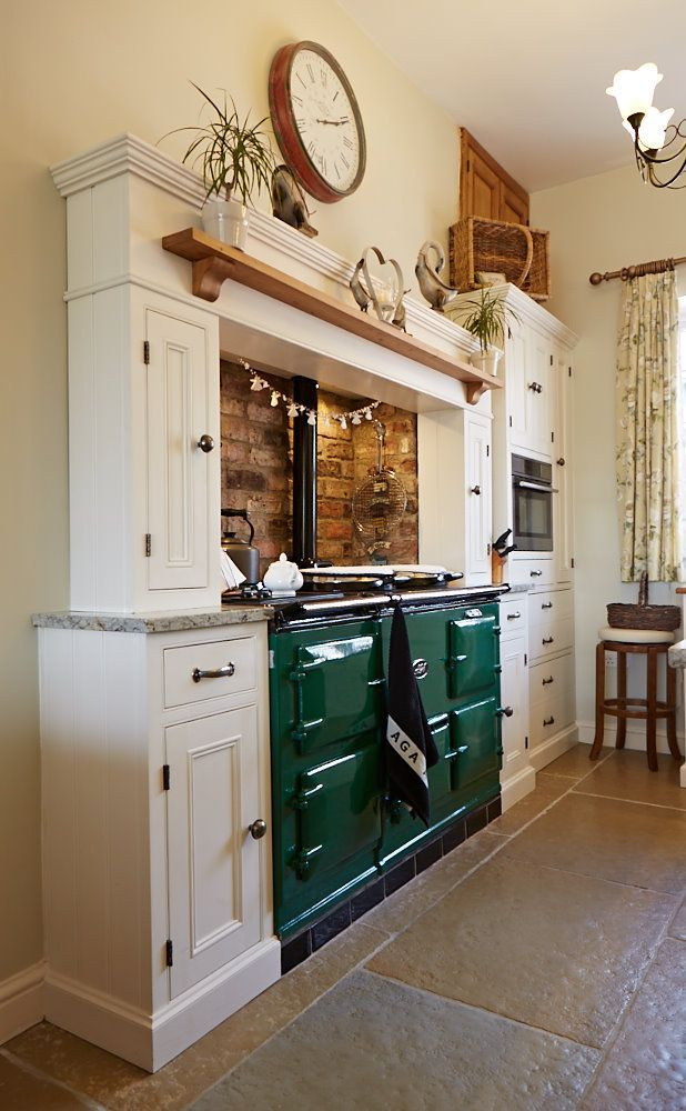 Traditional green Aga - contemporary classic bespoke kitchen from The Main Company. http://themaincompany.co.uk