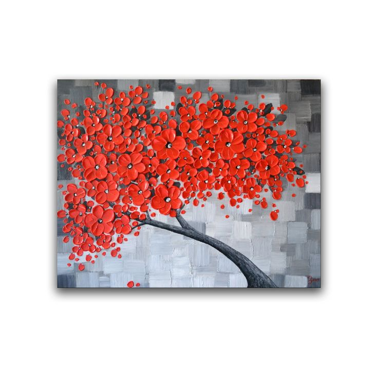 Large abstract art Red cherry blossom tree painting by ZarasShop