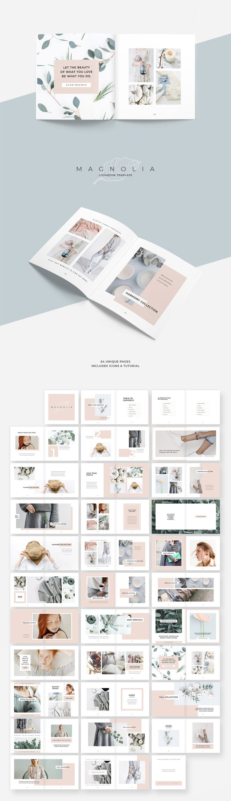 Maganolia Lookbook Template. An elegant and fashionable proposal template. Magnolia design line has a feminine, minimalist aesthetic that's both eye catching and professional. #lookbook #brochure #chic #minimal #portfolio #branding #proposal