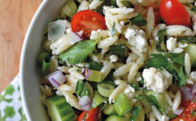 Recipe for Lemon, Feta and Orzo Salad by Taste Canada finalist Gatherings Bringing People Together with Food for Gusto TV.