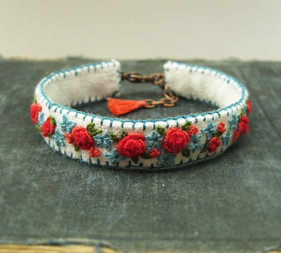 Spring Garden Hand Embroidered Boho Cuff Bracelet by Sidereal, $48.00