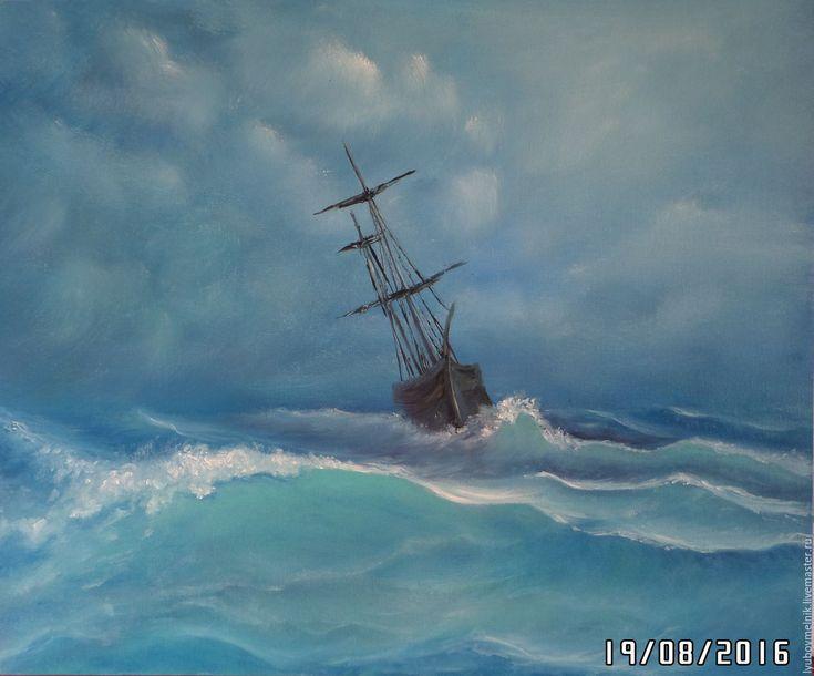 Купить Морское настроение - тёмно-синий, морской пейзаж, море маслом, парусник на море картина